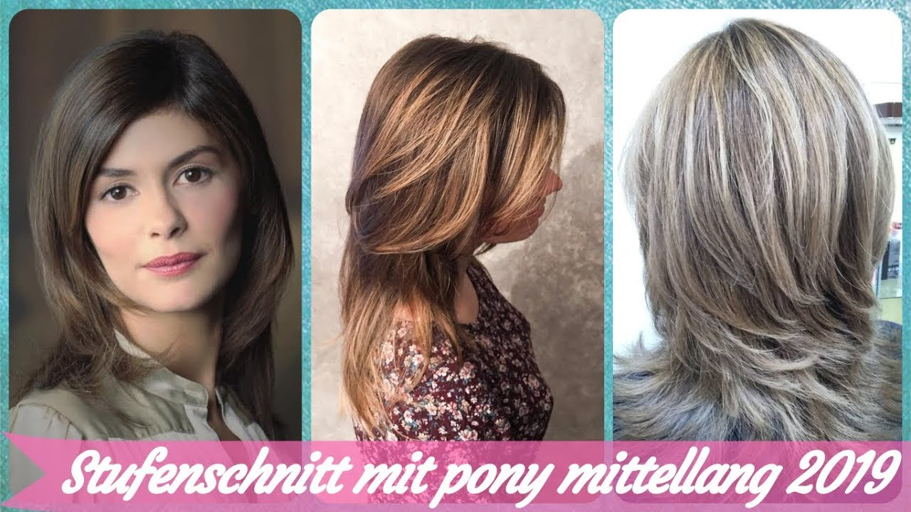 20 Frisurideen Fur Stufenschnitt Mit Pony Mittellang 2019 Youtube