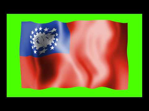 Myanmar Waving Flag Green Screen Animation - Free Royalty Footage