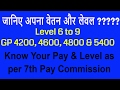 Pay Matrix for Level 6 to 9 || GP 4200, 4600, 4800 & 5400 || 7th Pay Commission || Hindi