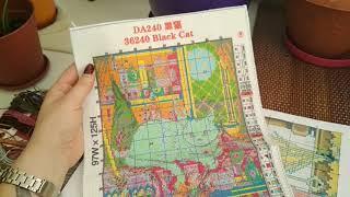 Набор для вышивки с Алиэкспресс. Черный кот.