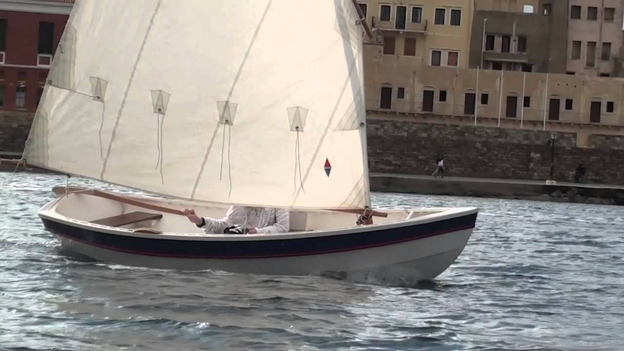 Rowing the Bevin Skiff and sailing the Shellback Dinghy in Chania, Crete - YouTube