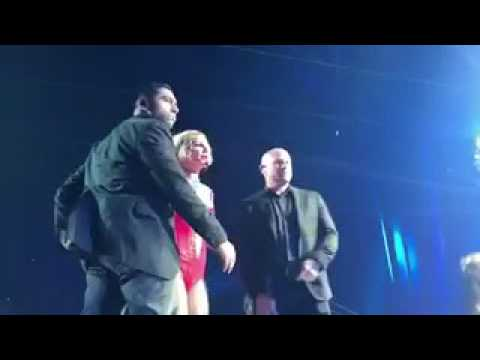 A fan ran onstage at the Piece Of Me show and Britney was horrified.