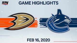 NHL Highlights | Ducks vs Canucks - Feb. 16, 2020