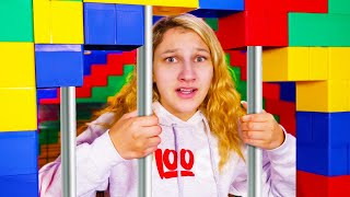 I Trapped My LITTLE SISTER in LEGO Prison for 24 HOURS!