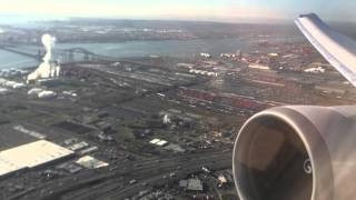United Airlines Boeing 767-400ER takeoff from EWR Newark to HNL Honolulu - Wing and Engine View