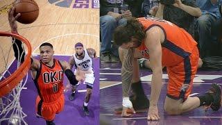 Russell Westbrook 20th Trip Dub of Season! Adams Injured Thunder vs Kings