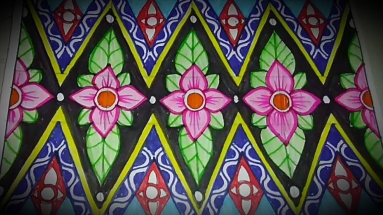 Menggambar Batik Motif Bunga Mudah Lho Youtube
