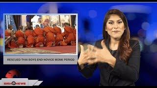 Rescued Thai boys end novice monk period (ASL - 8.4.18)