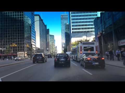 Driving Downtown   René Lévesque Boulevard   Montreal Quebec Canada