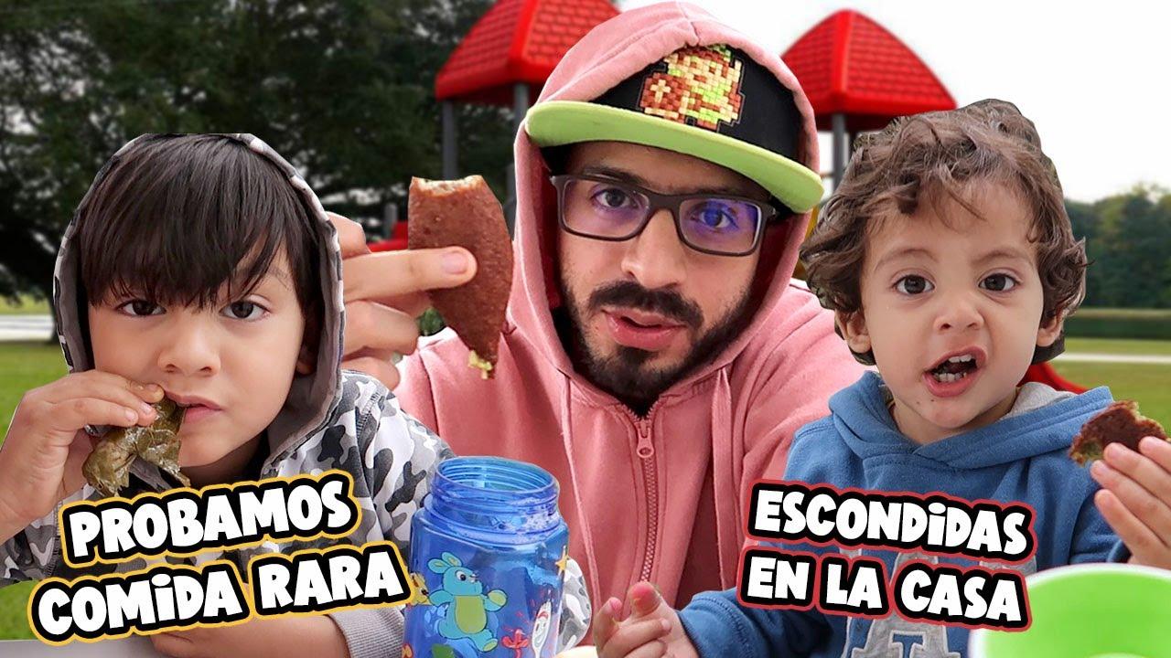 ESCONDIDAS EN LA CASA   PROBAMOS COMIDA EXTRAÑA   Family Juega