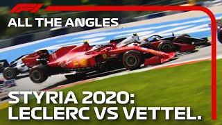 Watch all of the angles as sebastian vettel and charles leclerc make contact on opening lap at 2020 styrian grand prix.for more f1® videos, visit htt...