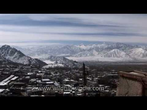 Panoramic view of Leh protected by high Himalayan mountains - Ladakh