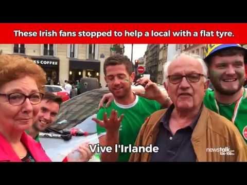 Irish Fans help French couple change flat tyre