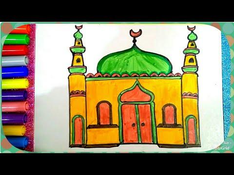 رسم المسجد للمسلم ، تعليم رسم مسجد للمبتدئين و الأطفال ، رسم مسجد للصلاة بطريقة سهلة خطوة بخطوة
