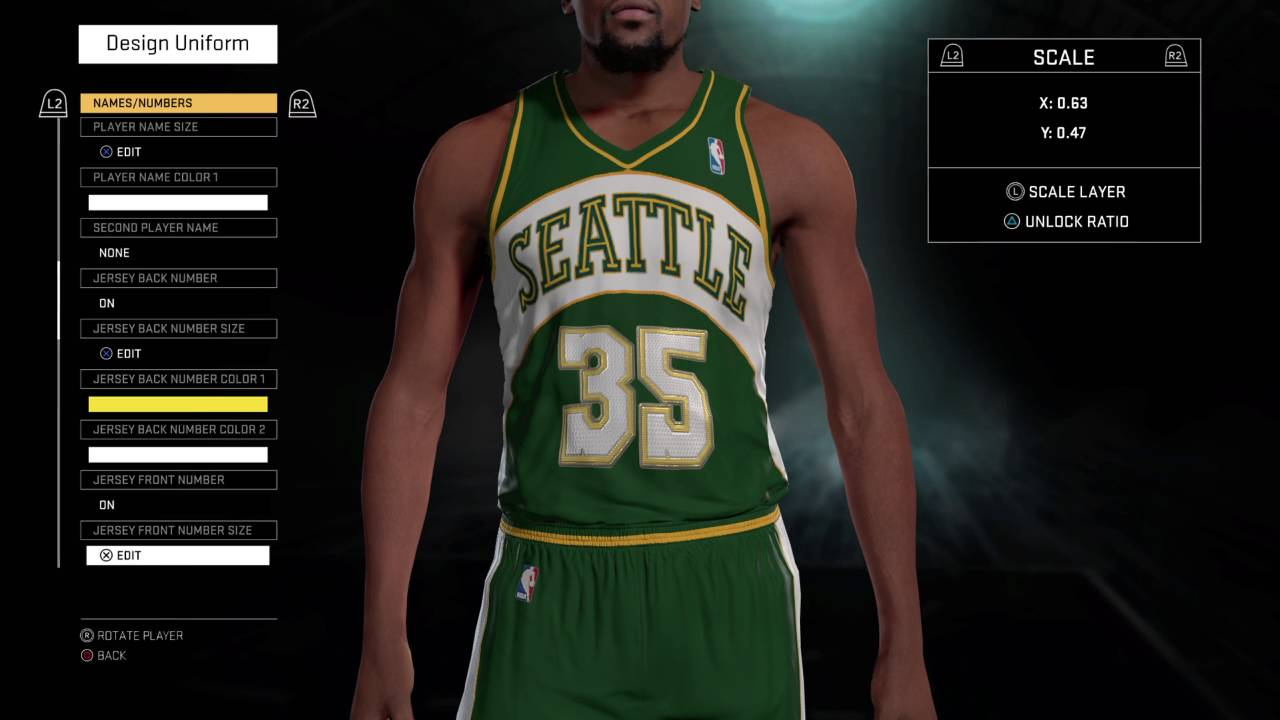 NBA 2K16 Seattle Supersonics jerseys and court