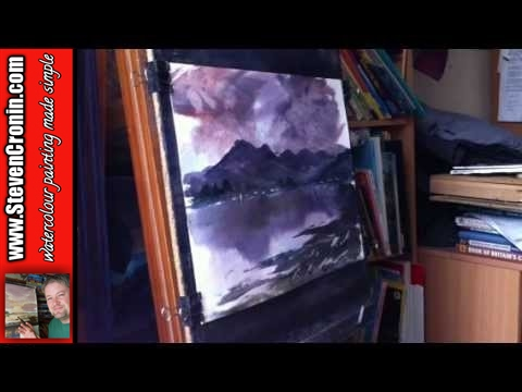 Watercolour Painting Landscape demo of Five Sisters of Kintail in Scotland