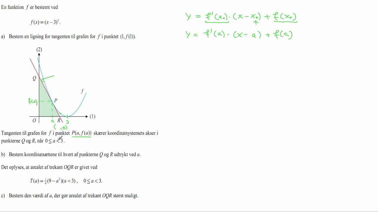 STX A 2011 maj opgave 14b - Tangentens skæringspunkter med akserne