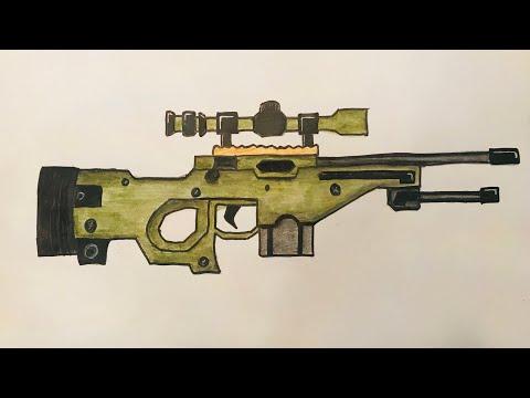 Çok kolay keskin nişancı tüfeği çizimi #4