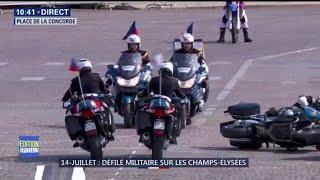 14-Juillet: deux motards se sont percutés et sont tombés devant la tribune présidentielle