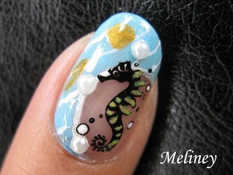 Konad Stamping Nail Art Tutorial Seahorsee Ocean Beach Pearl Holiday Design M27