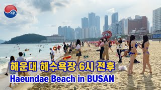 [4K] BUSAN Walk - The Scenery of HAEUNDAE Beach in the Summer Holiday Season, Beach in Korea.