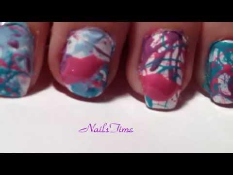 Splatter Paint Nail Art Using A Straw Youtube