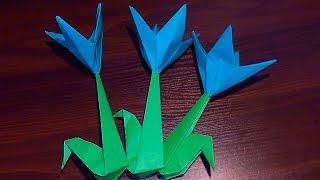 Симпатичный цветок крокус из бумаги своими руками(Симпатичный цветок крокус из бумаги своими руками видео инструкция (простое оригами) В данном видео мы..., 2015-04-05T22:44:22.000Z)