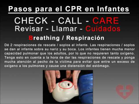 SPANISH Infant CPR 2010 guidelines training video following New CAB method How to CPR Video