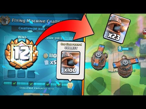 PERFECT 12 WINS FLYING MACHINE CHALLENGE | Clash Royale | NEW CARD FLYING MACHINE GAMEPLAY!