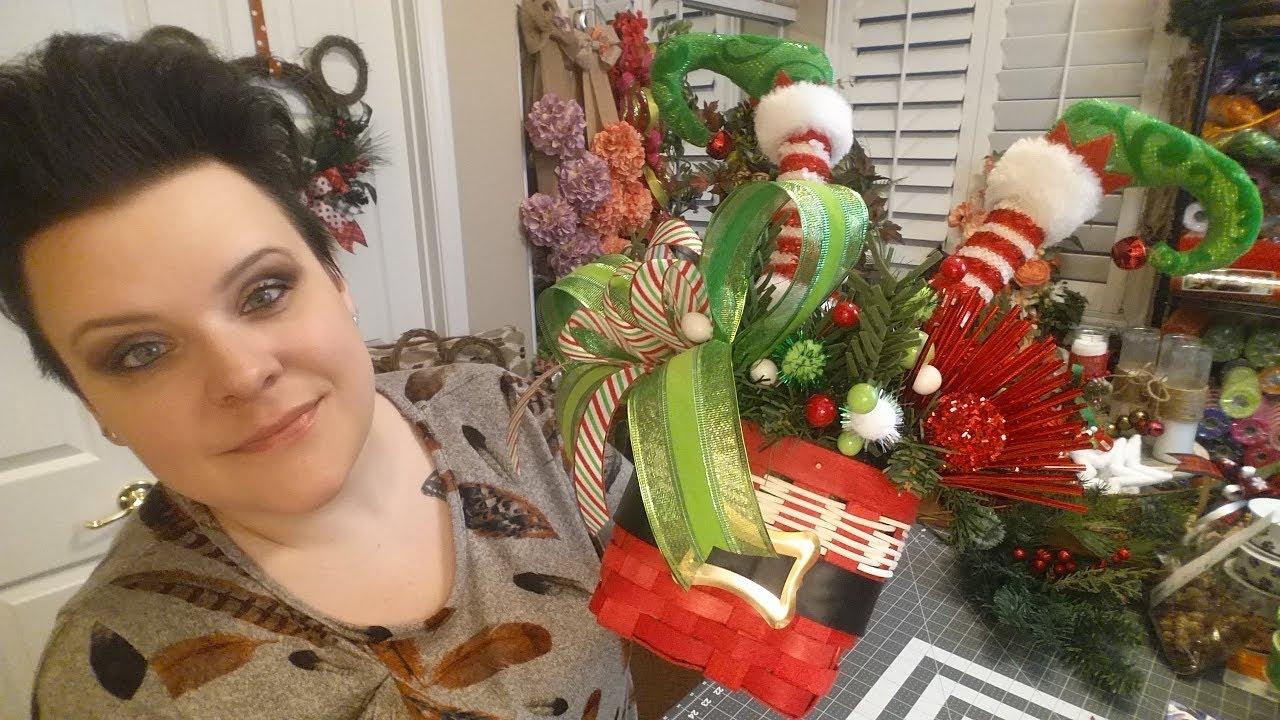 elf legs arrangement in a santa basket - Elf Legs Christmas Decoration