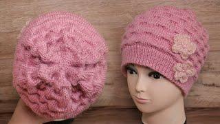 Шапка «Складки Клоке» спицами 🎀 Hat Kloke folds knitting pattern | Strickmütze