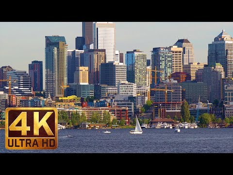 4K Urban/City Life Relax Video - 2.5 HRS City Park Sounds For Relaxation Gas Works Park, Seattle