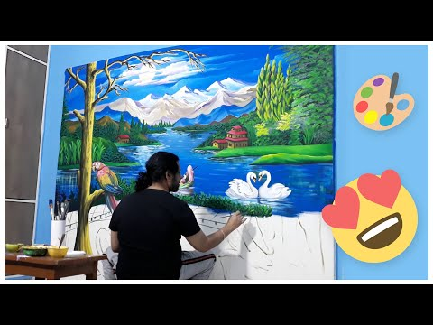 Painting Beautiful Landscape Nature Scenery Acrylic Watercolor On Canvas