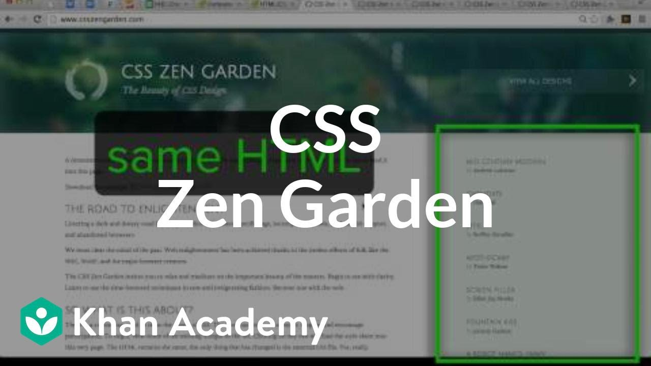 Css Zen Garden Intro To Html Css Making Webpages Computer Programming Khan Academy Youtube