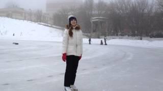 Уроки катания на коньках. Торможение