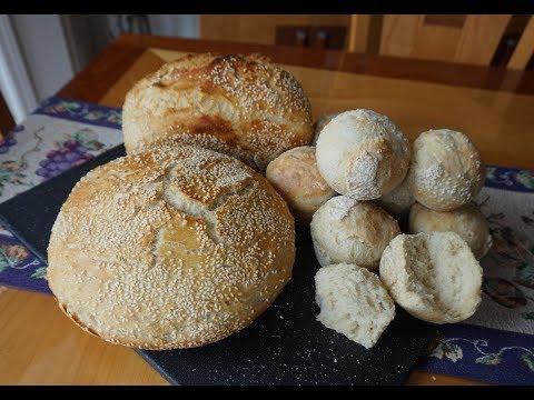 No-Knead Italian Sesame Seed Bread… baked 4 ways (super easy… no machines)