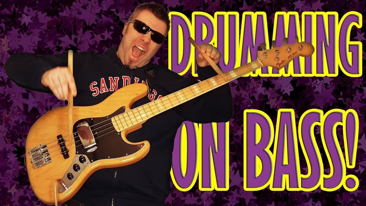Drumming on Bass guitar with pickup cover - cool groove bass solo with a drum stick