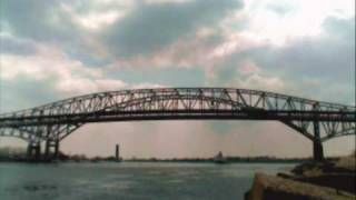 Lake Freighter Time Lapse passing under Blue Water Bridge