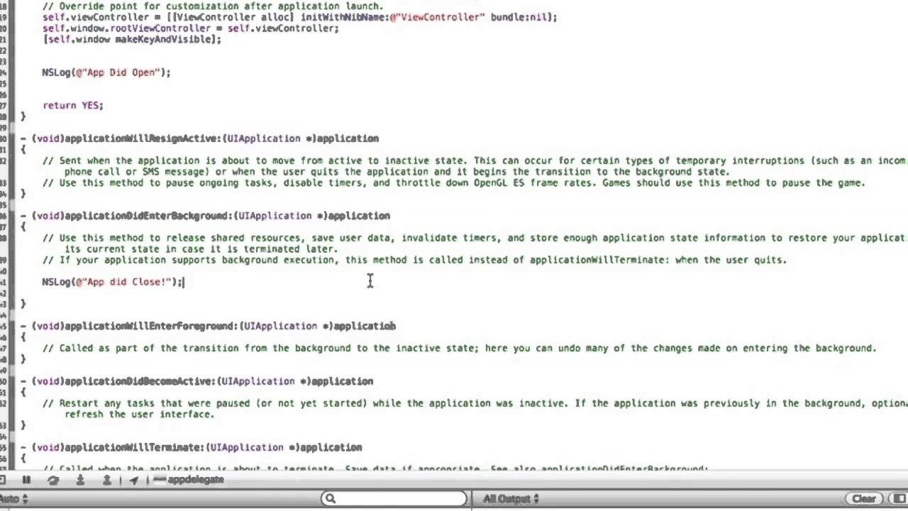 XCode Tutorial 9: The App Delegate & Doing Things When App is Closed