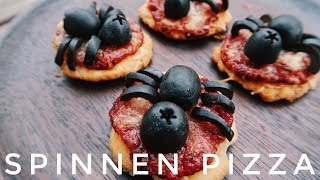 HALLOWEEN PARTY FOOD. SPINNEN/KÄFER PIZZA. SUPER SCHNELL & EINFACH