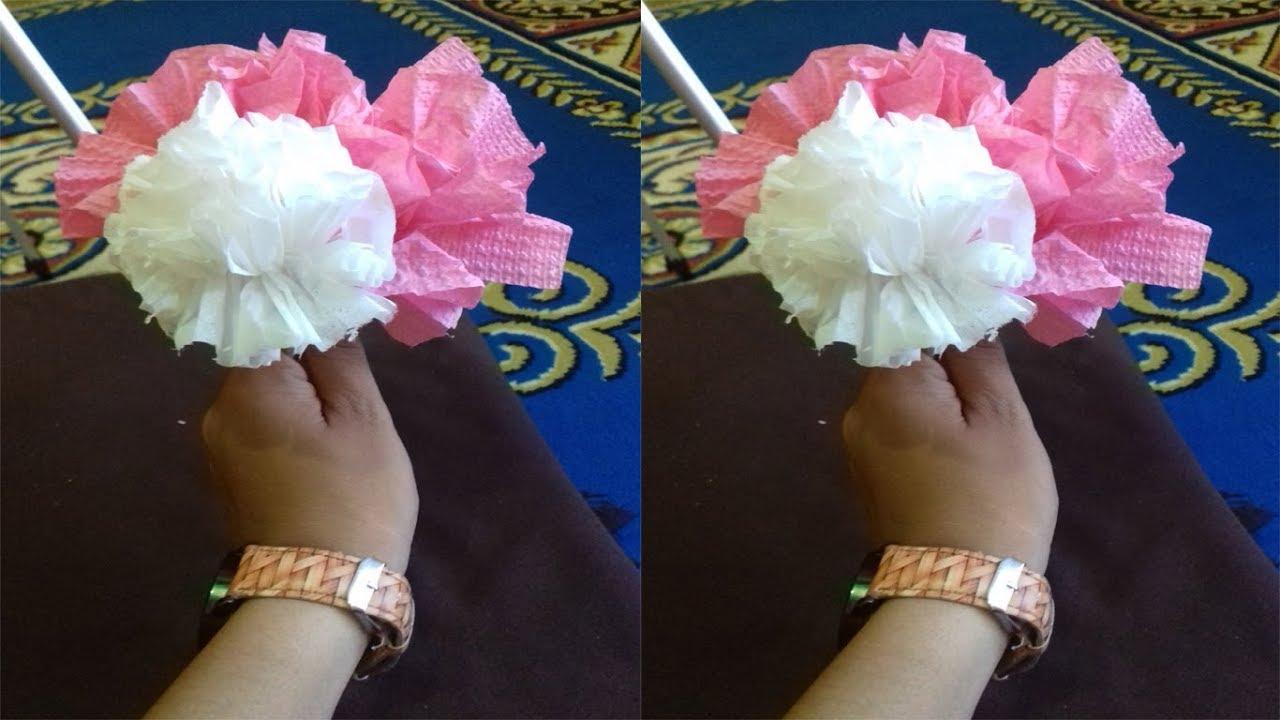 Cara Mudah Membuat Bunga Tisu Warna Warni Youtube