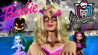 ZOMBIE BARBIE Makeup Tutorial BARBIE Styling Head Makeover MONSTER HIGH Dolls Halloween Walking Dead
