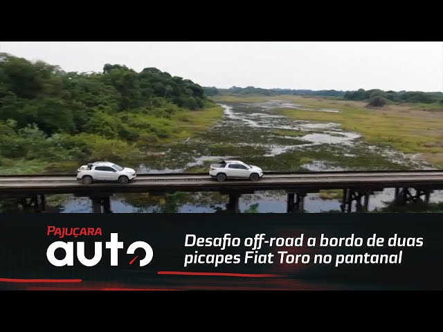 Desafio off-roada bordo de duas picapes Fiat Toro no pantanal