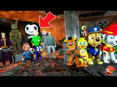 CAN FNAF KINDERGARTEN & PAW PATROL DEFEAT EVIL BAD GUY SQUAD? (GTA 5 Mods FNAF Kids RedHatter)
