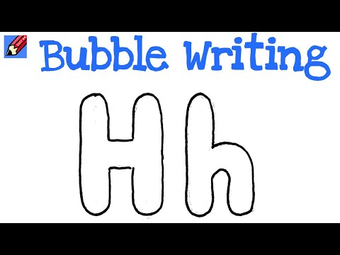 How To Draw Bubble Writing Real Easy Letter H Youtube