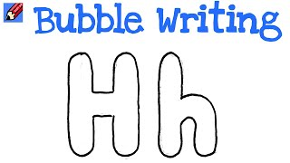 How to Draw Bubble Writing Real Easy - Letter H