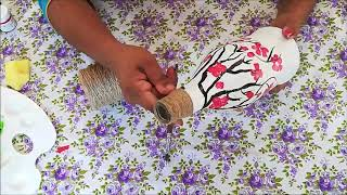 Bottle Painting / Bottle craft / Vegetable Printing on Bottle / Bottle decoration / Bottle art