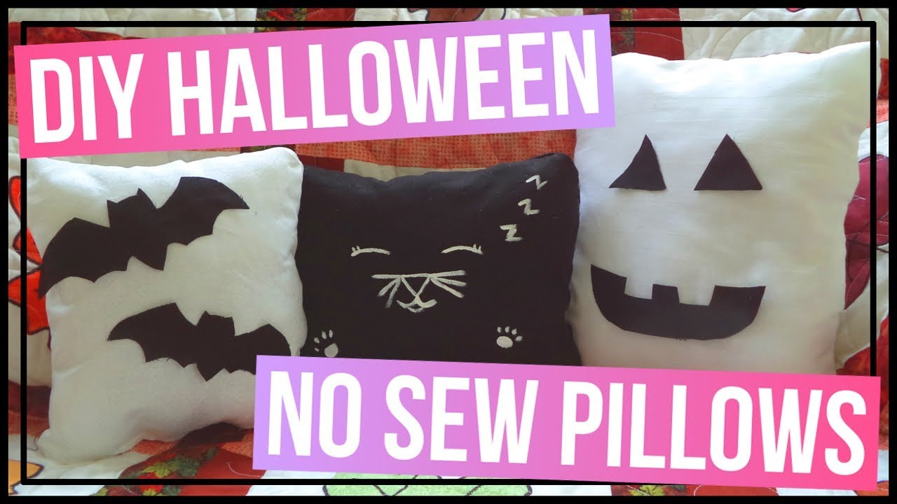 Diy Halloween No Sew Pillows Diy Black Cat Pillow Diy Bat Pillow