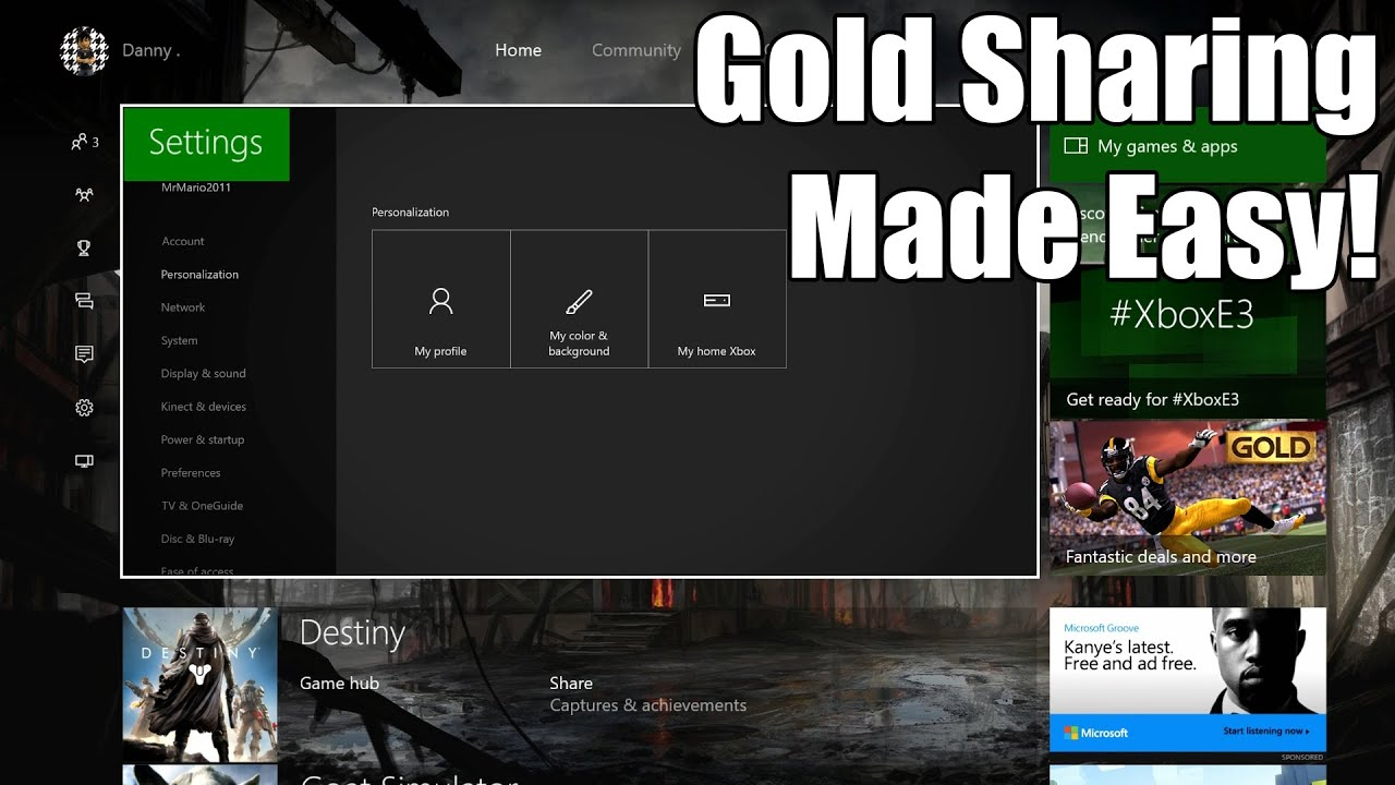 How To Set Up Game Sharing Gold Sharing On Xbox One