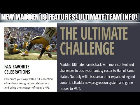 MADDEN 19 NEW MUT GAME MODE, PUSH THE PILE, NEW CELEBRATIONS AND MORE! | MADDEN 19